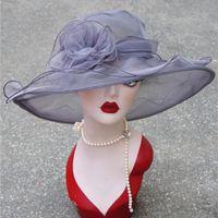 Wholesale white organza wedding hats resale online - Lawliet Summer Sun Hats for Women Ladies Organza Wide Brim Sun Hat Kentucky Derby Wedding Church Party Floral Hat Cap A002 Y200716