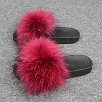 Wholesale slippers china for sale - Group buy Hot Selling Fashionable Raccoon Fur Slippers China PVC Slides Women fur flat slides