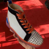Wholesale fun dresses for weddings for sale - Group buy 2020 Brand High Top Spikes Casual Red Bottom Fun Louisflats Shoes For Women Men Mesh Leather Studs Sneaker Walking Designer Wedding Dress