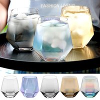 Wholesale block designer resale online - 300ml Glass Wine Glasses Milk Cup Colored Crystal Glass Geometry Hexagonal Cup Phnom Penh Whiskey Cup DHD36