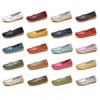 Wholesale bean shoes resale online - Women Casual Shoes Spring Summer Hollowing Breathable Flat Bottom Casual Shoes Soft Soles Cowskin Beans Casual Mother Pregnant Shoes AHC535