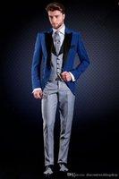 Wholesale button back fitted wedding dress resale online - Slim Fits Groom Tuxedos One Button Blue Man Wok Suit Wedding Party Dress Mens Suits Jacket Pants Vest Tie J213
