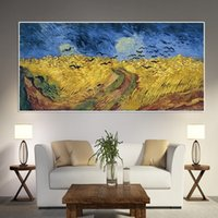 Wholesale famous impressionist paintings for sale - Group buy Wheat Field Crows Famous Oil Painting By Van Gogh Impressionist Art Reproduction Posters Prints Abstract Wall Art Picture Home Decoration