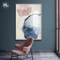 Discount line art wall painting Abstract Blue watercolor Canvas Print Paintings Golden lines Poster Nordic Wall Art Pictures on Canvas Living Room Home Decor
