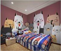 Wholesale wallpaper cat resale online - custom photo mural on the wall d wallpaper Cute and cute cartoon cat kids room home decor d wall murals wallpaper for living room