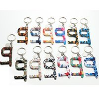 Wholesale keys ring for sale - Group buy Monogram Disc Blanks No Contact Print Floral Acrylic Key Door Opener Key Ring Touchless Tool Hands free Contactless Tool Keychain
