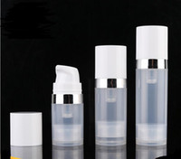 Empty 5ml 10ml 15ml Airless Bottles Clear Airless Vacuum Pump Lotion Bottle with Silver Line Cosmetic Packaging SN1306