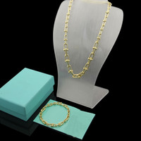 Wholesale thick chains resale online - Europe America Fashion Jewelry Sets Men Lady Women Engraved T Initials U shape Chain Thick Necklace Bracelet Sets Color
