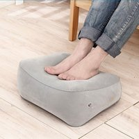 Wholesale foot pedal pads resale online - Inflatable pad thickened flocking outdoor travel aircraft high speed rail inflatable pedal pillow foot massage foot pedal