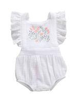 Wholesale linen newborn clothes resale online - 2020 Baby Summer Clothing M Newborn Baby Girl Jumpsuit Cotton Linen Short Ruffle Sleeve Sunsuit Embroidery Flowers Bodysuit