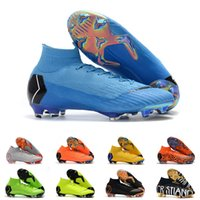 Wholesale cleats for soccer ronaldo resale online - Mens FG Cleats Sky Blue Superfly VI Elite Neymar High Ankle Outdoor Soccer Shoes Ronaldo CR7 Mercurials Football Crampons Boots for Male