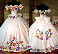 Wholesale white bow back lace dress resale online - Mexican Colorful Embroidered Quinceanera Dresses Theme Off The Shoulder Satin Lace up Ball Gown Sweet Dress Girls Charro Vestidos Prom