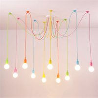 Wholesale fabric lamp cord for sale - Group buy Modern Pendant Lights Colors DIY Lighting Multi color Silicone E27 Bulb Holder Lamps Home Decoration Arms Fabric Cable