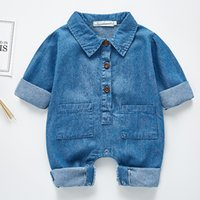 Wholesale baby boy korean style clothes for sale - Group buy 2020 New Spring Baby Boys Romper Long Sleeved Denim Romper Korean Japan Style Toddler Boys Girls Jumpsuit New Born Baby Clothes