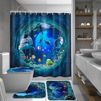 Wholesale dolphin shower curtain resale online - Ocean Dolphin Deep Sea Polyester Shower Curtain Bathroom Waterproof with Hooks Pedestal Rug Lid Toilet Cover Bath Mat Set T200711