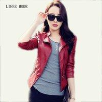 Spring Autumn Short Design Solid Red Black Slim Fit Leather Jacket Women Pu Leather Moto Biker Jacket Ladies Lether Coats