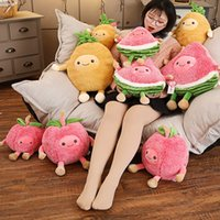 Wholesale fruit soft baby toy resale online - Kawaii Fuzzy Watermelon Cherry Pineapple Fruits Soft Plush Cute Toys Stuffed Dolls Pillow for baby kids children girl gifts MX200716