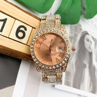 Wholesale gold roles resale online - 2020 New Rose gold Three needle series luxury mens watches Roman numeral dial Quartz Watch designer watches Diamond bezel ROLE Brand