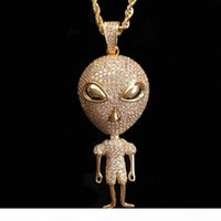 Wholesale aliens necklace for sale - Group buy New Hip hop Jewelry Alien Pendant Necklace Gold Color Bling Cubic Zircon Men Women s Necklace with Rope chain For Gift