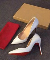 Wholesale new fashionable ladies red soled high heels patent leather pointy stilettos with sexy ladies party wedding heels cm box