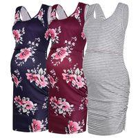 Wholesale nursing dress for sale - Group buy Women Maternity Dresses Floral Print Pregnancy Nursing Dress Pregnant Women Sleeveless Summer Casual Breastfeeding Clothes