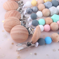 Wholesale fashion baby pacifier for sale - Group buy Fashion Silicone Baby Pacifier Clip Wood Beaded Holder Clips Anti Dropping Chain Appease Maternal And Infant Products bq D2