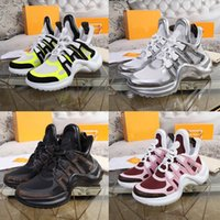 Wholesale comfortable black leather shoes resale online - 2020 SS18 Knit Casual Shoes Men Women Genuine Leather Wrinkled Sheepskin Arena Lace up Sneakers Stylish Comfortable Versatile Flat Trainers
