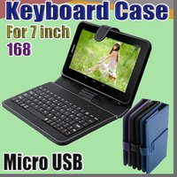 Wholesale tablet cases usb keyboards resale online - 168 DHL Leather Case with Micro USB Interface Keyboard for inch MID Tablet PC A JP
