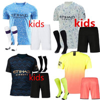 Wholesale jersey city kids for sale - Group buy 2020 Manchester KUN AGUERO STERLING MAHREZ JESUS DE BRUYNE MAN CITY kids kit soccer jersey Child football shirts uniforms kits socks