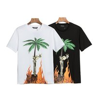 Wholesale Summer New Stylist T shirts Men And Womens Tees palm palm palms angels Coconut Tree Printed short sleeve Cotton T shirt