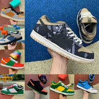 champs sapatos venda por atacado-2020 Nova Dunk Low SP Travis Brasil Scotts X Universidade Red Champ Descrição da Cor Laranja Laser tênis para mulheres dos homens das sapatilhas Dunks SB Trainers