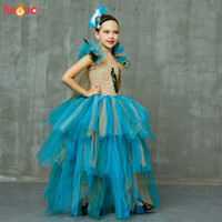 Wholesale couture pageant dresses resale online - Vintage Couture Peacock Ball Gown Girls Pageant Tutu Dress with Feather Headband Kids Princess Evening Prom Party Dress Costume T200709