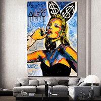 Wholesale graffiti wall decor resale online - Alec Monopoly Graffiti Catwoman Canvas Painting Living Room Wall Art Pictures for Home Decoration Modern Posters Prints Artwork Home Decor
