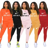 Wholesale red motorcycle racing suits for sale - Group buy Brand Women fall winter Sweatsuit solid color piece sets long sleeve hoodies leggings sport Outfits letter print casual jogger suit