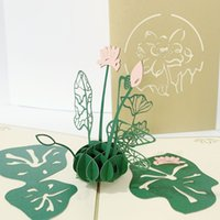 Wholesale 3d chinese cards for sale - Group buy 3D Chinese Vintage Style Invitations Card Hollow Laser Cut Lotus Design Birthday Party Festival Invitations Supplies
