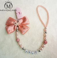 Wholesale baby name pacifier clips resale online - MIYOCAR any name can make Luxurious bow pink and sliver beads dummy clip holder pacifier clips holder Teethers clip for baby