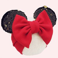Wholesale baby headwraps resale online - Lovely Mouse Ears Headband Girls Baby Hair Accessories Sequins Bows Newborn Photo Props Bows Turban Headwraps Headband