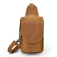 Wholesale genuine crazy horse leather for sale - Group buy ABER New Genuine Leather Men Chest Bags Cow Leather Vintage Leisure Crazy Horse Leather Cover Outdoor Crossbody Bags