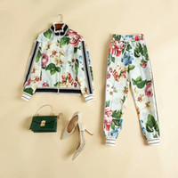 Wholesale white suit blue trouser resale online - European and American women s clothing winter new style Long sleeved floral print zipper coat trousers Fashion suits