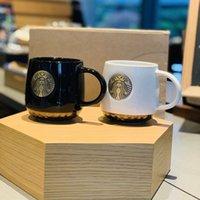 Wholesale starbucks porcelain coffee mugs for sale - Group buy Starbucks bronze mug black and white couple cup Mermaid bronze medalin ceramic coffee Christmas mug gift box