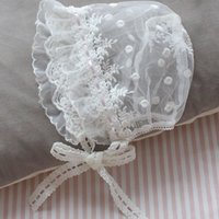 Wholesale white cap style boy for sale - Group buy Newborn Caps Hat Restonic Cap Supplies Pure Months Cotton Lace and Child Baby Girl Pastoral Style White Pink Floral