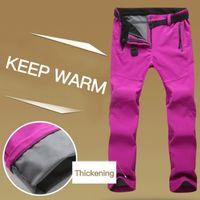 Wholesale hiking apparel for sale - Group buy Men Women Windproof Skiing Pants Winter Warm Pants Hiking Soft Hose Fleece Climbing Camping Apparel