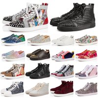 Wholesale black spiked red bottom sneakers resale online - New fashion luxury designer shoes men women spike sneakers yellow red bottoms white leather suede Graffiti flats casual shoe size