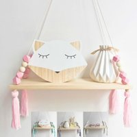 Wholesale wall toy storage resale online - Nordic Nursery Kids Decor Tassels Storage Shelf Rack Wall Hanging Wood Toys Model Baby Kid Room Furnish Artic Home Decoration
