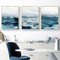 Wholesale ocean panel painting for sale - Group buy 3 Panels Abstract Ocean Scenery Wall Art Canvas Painting Minimalist Nordic Posters Prints Wall Picture for Living Room Home Wall Decor