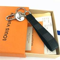 Wholesale cross keychains resale online - high qualtiy Leather Designer Keychain Fashion Famous Brand Handmade Car Keychain Women Bag Charm Pendant Accessories