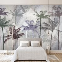 Wholesale wall painting trees photo resale online - Custom D Photo Wallpaper Hand Painted Plant Coconut Tree Modern Geometric Living Room Sofa TV Background Mural Wall Covering