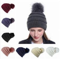Wholesale fluffy caps for sale - Group buy Women Knitted Hat Warm Fluffy Ball Female Beanies Cap Beanie Lady Skull Beanie Solid Color Crochet Winter Ski Outdoor Party Caps LJJP240