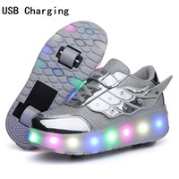 Wholesale child light shoes wheel for sale - Group buy Children One Two Wheels Luminous Glowing Sneakers Gold Pink Led Light Roller Skate Shoes Kids Led Shoes Boys Girls USB Charging