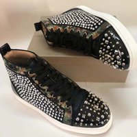 Wholesale full leather shoes for men resale online - Studded Spikes Flats CASUAL shoes Red Bottom Shoes For Men and Women Party Lovers Genuine Leather Sneakers X2X